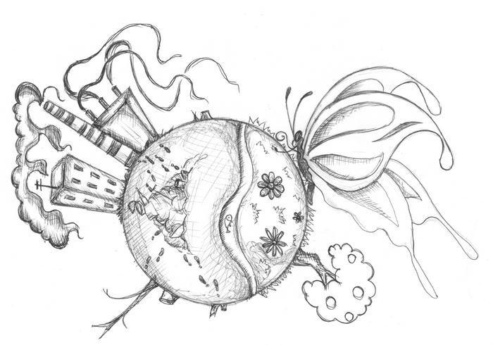 черно белый рисунок на тему экология